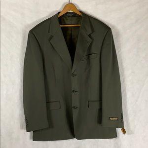 Jones New York Athletic Fit Green Wool Sport Coat